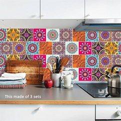 Kitchen Wall Art Country Sink 神奇墙壁抽象图案瓷砖装饰墙艺术贴纸贴花厨房浴室客厅家居装饰5 91x5 91