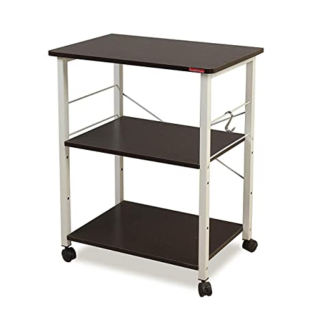 kitchen work station wayfair cabinets mr ironstone 3 层厨房烘焙架实用微波炉支架存储车工作站货架黑色unknown