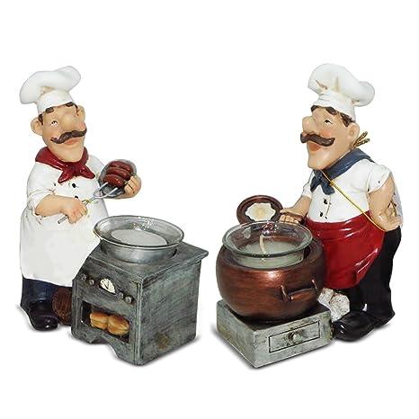kitchen chef decor painting cabinet ideas 意大利 厨师烛台小雕像厨师小雕像 装饰厨房 吧套装 gift collection