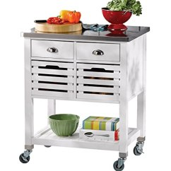 Kitchen Trolley Cart All In One Units Linon Amzn0267 Hudson 白色厨房推车 厨具 亚马逊中国