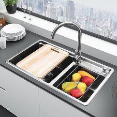 Qvc.com Shopping Kitchen Black Faucet With Sprayer Higold 悍高厨房水槽304不锈钢0 9mm一体拉伸加厚洗菜盆大单双槽水槽拉伸 9mm一体拉伸加厚洗