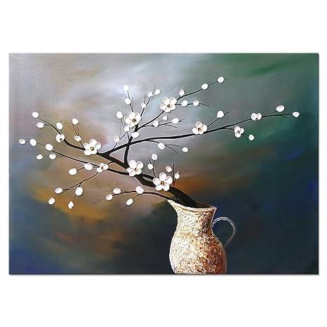 kitchen wall art decor dark blue cabinets wieco plum blossom 花卉油画帆布墙体艺术现代现代抽象白色花朵艺术