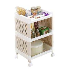 Kitchen Serving Cart Steampunk Appliances Aiyoo 2 层存储实用车 滚动手推车储物架 网格存储架家庭厨房浴室服务车 网格存储