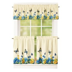 Blue Kitchen Valance How Much Does It Cost To Change Cabinets Collections Etc 复古春季蝴蝶和花朵2 层厨房咖啡馆窗帘套装 杆袋上衣 杆