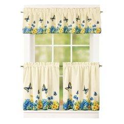 Kitchen Cafe Curtains Free Games Collections Etc 复古春季蝴蝶和花朵2 层厨房咖啡馆窗帘套装 杆袋上衣 杆