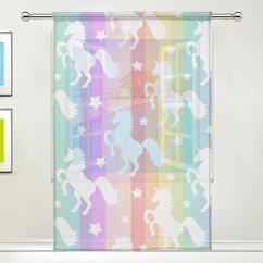 Kitchen Curtain Panels Compost Container Xmcl 窗帘可爱白色独角兽剪影多彩条纹装饰超宽 适用于客厅卧室厨房窗 适用于