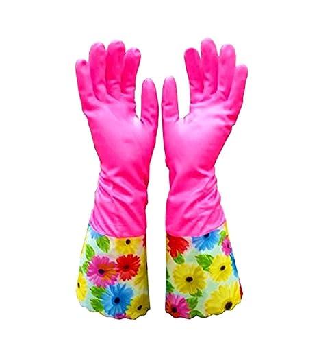 kitchen gloves roller island 可爱的清洁手套厨房手套vanorig 加厚防水洗碗手套家庭手套带衬里 1 对 加厚防水洗碗手套家庭手套带