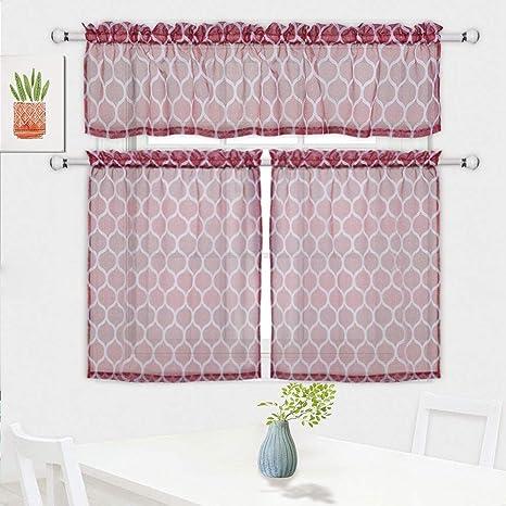 cafe kitchen curtains cheap faucet haperlare 3 件套半透明厨房窗帘套装 格子图案层窗帘和帷幔套装 杆袋 格子图案层窗帘和帷幔
