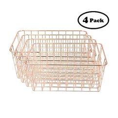 Kitchen Wire Storage Designing A 4 件装玫瑰金大号电线篮用于装饰存储和整理 厨房装饰 派对装饰 浴室