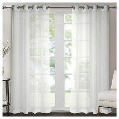 Grommet Kitchen Curtains Island Table Ideas Singlory 透明窗帘 纹理纯色索环窗帘带系背 2 幅 132 08 厘米x 213 36