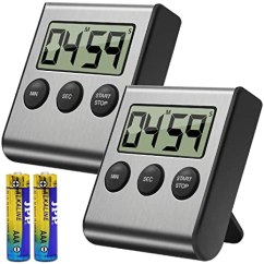 Digital Kitchen Timers Hgtv Cabinets Costech 数字厨房计时器2 件装 不锈钢外壳 大数字显示 大声警报 强力