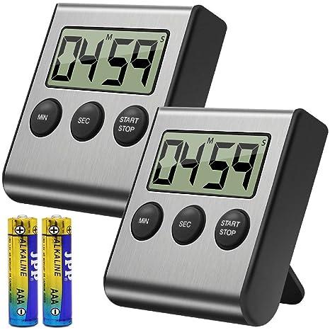 digital kitchen timers islands with breakfast bar costech 数字厨房计时器2 件装 不锈钢外壳 大数字显示 大声警报 强力