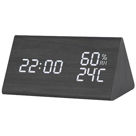 wooden kitchen clock 13 gallon trash can loreen 木制数字闹钟 卧室厨房时钟 显示时间日期温度和湿度 矩形