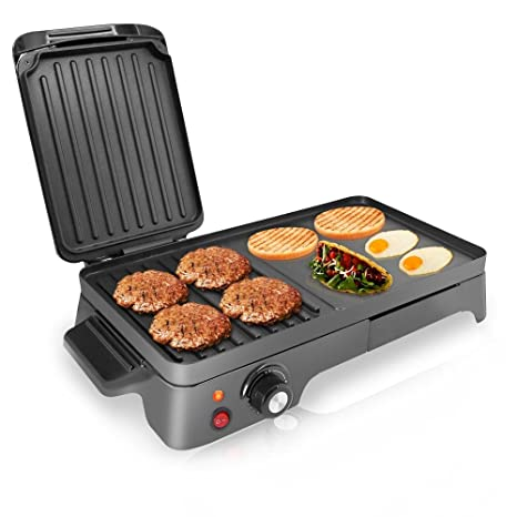 kitchen grills mats commercial nutrichef 电烤架 双热板炉烤盘式烤架 不粘涂层旋转温度控制 厨房及 不