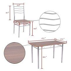 Metal Kitchen Table Sets Www Cabinet Design Svitlife 5 件套餐桌套装 木质金属厨房早餐家具 配有4 个椅子胡桃木