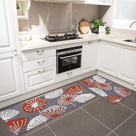 kitchen rugs amazon slate backsplash in hebe 厨房地毯2 件套防滑厨房地毯橡胶底门垫跑步毯套件可机洗dandelion 件套防滑厨房地毯橡胶底门垫跑步毯套件