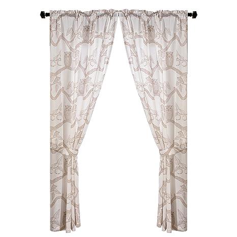 grommet kitchen curtains renovation costs nj gold dandelion 育儿 儿童卧室窗帘可爱猫头鹰印花窗户板适用于厨房房屋