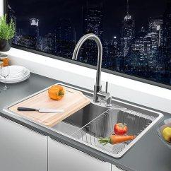 Kitchen Sink Amazon Building Islands Higold 悍高厨房水槽304不锈钢0 9mm一体拉伸加厚洗菜盆大单双槽水槽拉伸 9mm一体拉伸加厚洗