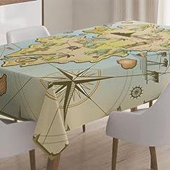 Childrens Play Kitchen Havertys Tables Ambesonne 岛地图装饰桌布 卡通珍宝岛与海盗船胸围克朗章鱼航海儿童游乐 卡通珍宝岛与海盗船胸围克朗章鱼航海儿童