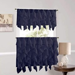 Kitchen Curtains Amazon Hickory Cabinets Sweet Home Collection Veritcal 厨房窗帘透明层叠褶皱瀑布窗帘 蓝36 Quot Tier