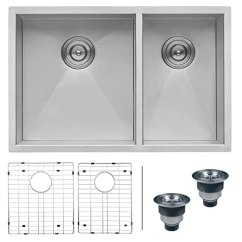 60 40 Kitchen Sink 4 Piece Stainless Steel Appliance Package Ruvati 73 66 Cm 底托60 双碗zero Radius 16 号不锈钢厨房水槽 号不锈钢厨房