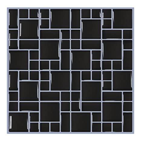 mosaic backsplash kitchen makeovers ideas smarsticker 墙砖贴纸即剥即贴自粘墙砖与马赛克效果 厨房浴室后挡板黑色