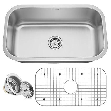 kitchen sink amazon blinds for window miligore 单碗16 号不锈钢底托厨房水槽 包括排水管 格栅30 x18 x9 ss 格