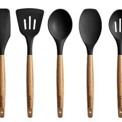 Black Kitchen Appliances Cabinet Handles For Miusco 硅胶烹调厨房用具套装黑色 亚马逊中国 厨具 海外购美亚直邮