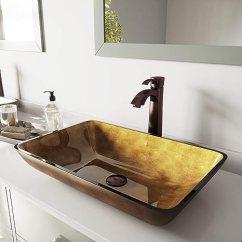Oil Rubbed Bronze Kitchen Sink Sets For Sale Vigo 矩形铜玻璃柜浴室水槽和油箱水龙头 带弹出式 油面青铜 油