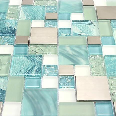 mosaic backsplash kitchen all wood cabinets 手绘海洋蓝玻璃瓷砖银色厨房马赛克后挡板不锈钢瓷砖裂纹筹码水玻璃白色 手绘海洋蓝玻璃瓷砖银色厨房马赛克后挡板不锈钢瓷砖裂纹筹码水