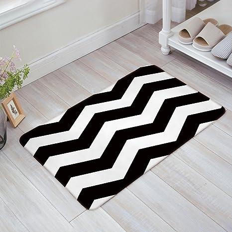 kitchen rugs amazon replacing cabinets homecreator 现代黑白斑v 形波浪门垫厨房地板浴室入口地毯垫吸水性室内 形波浪门垫厨房地板浴室入口地毯垫吸水