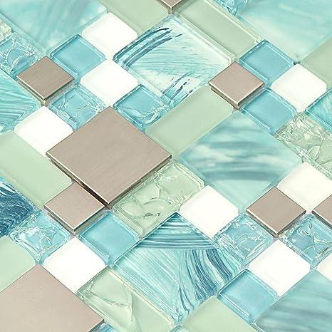 mosaic backsplash kitchen round tables 手绘海洋蓝玻璃瓷砖银色厨房马赛克后挡板不锈钢瓷砖裂纹筹码水玻璃白色 手绘海洋蓝玻璃瓷砖银色厨房马赛克后挡板不锈钢瓷砖裂纹筹码水