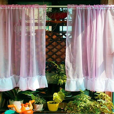 cafe kitchen curtains cost of new abreeze 薄纱厨房窗帘 咖啡馆窗帘 餐厅窗帘 卧室窗帘粉红色110 w x 70 卧室窗帘粉红
