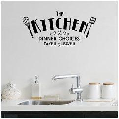 Kitchen Vinyl Counters 厨房 晚宴选择 Take It Or Leave 乙烯基刻字墙贴贴纸黑色10 H X 21 乙烯基刻字墙贴贴纸