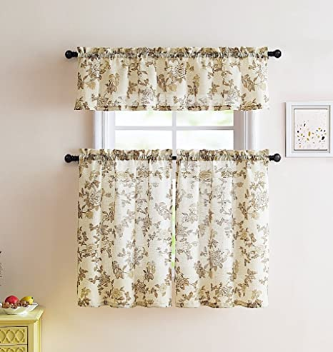 kitchen curtains amazon walmart play sets 牡丹棕色米色白色聚会亚麻乡村厨房窗帘 精致草皮花卉和浆果设计