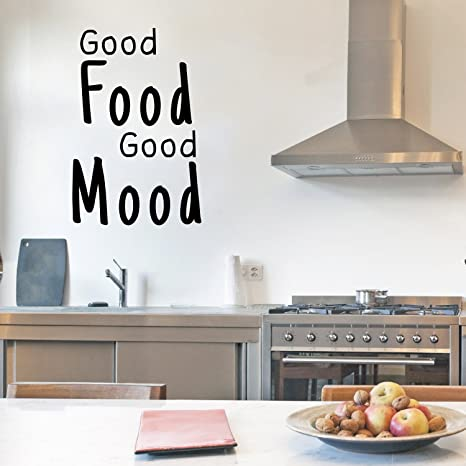 kitchen wall art mini pendant lights for island 乙烯基墙艺术贴纸 good food mood 58 42 x 38 10 cm 趣味幽默