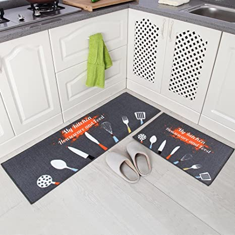 kitchen mat sets base cabinets with drawers carvapet 2 件套防滑厨房垫橡胶垫门毯 柠檬设计kitchenware 灰色 15
