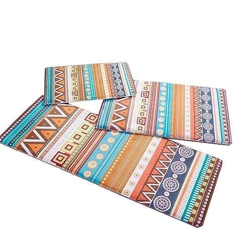 kitchen carpet sets backsplash wolala home trade 3 件套民族几何条纹设计厨房小地毯跑步者套装浴室 件套民族几何条纹设计厨房小地毯跑步者