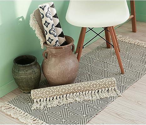 kitchen rugs amazon 6 ft island homcomoda 棉格子花纹小地毯手工编织厨房地板毯可洗地毯设计 1 23 by