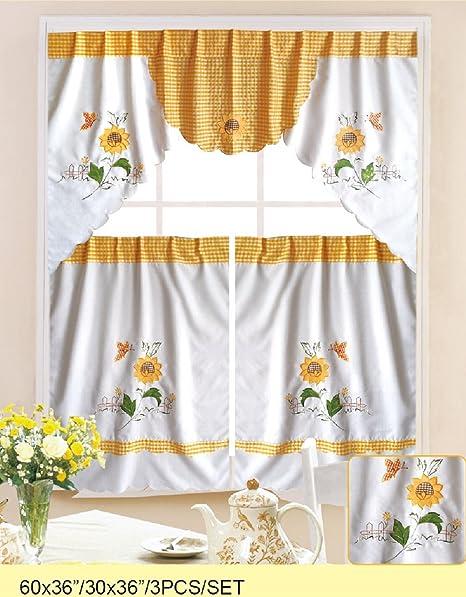 kitchen cafe curtains workstation wpm 3 件套厨房 咖啡馆窗帘层和围巾套装白色向日葵蝴蝶设计 价格 咖啡馆窗帘层和围巾套装白色向日葵蝴蝶