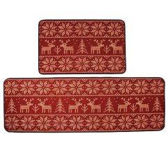Kitchen Runner Mat Different Kinds Of Countertops Kepswet 欧式圣诞麋鹿图案厨房小地毯浴室小地毯可爱红色卧室床边地毯跑步 欧式圣诞麋鹿图案厨房小地毯浴室小地毯可爱红色卧室床边