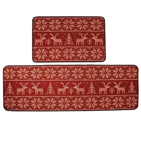 small kitchen rugs commercial ventilation kepswet 欧式圣诞麋鹿图案厨房小地毯浴室小地毯可爱红色卧室床边地毯跑步 欧式圣诞麋鹿图案厨房小地毯浴室小地毯可爱红色卧室床边