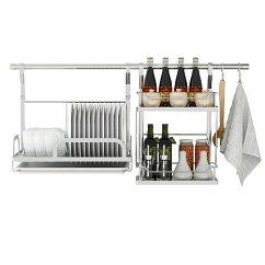 Kitchen Pendents Commercial Faucet Singaye心家宜食品级304不锈钢厨房挂件套装 80cm横管 碗碟架 调味架 2s钩