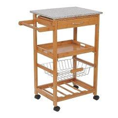 Granite Top Kitchen Cart Carnage Homcom 78 74 厘米厨房岛滚动收纳车 带花岗岩顶和花式 架 家居装修