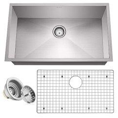 Ss Kitchen Sinks Backsplashes Images Miligore 25 4 厘米深单碗底置零半径16号不锈钢厨房水槽 包括排水 网格