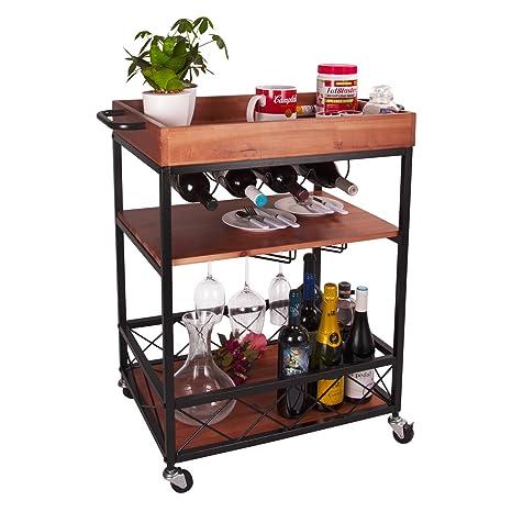 kitchen serving cart island cabinet 实木金属杆和服务车带轮 工业风格滚动储物柜手推车 厨房 吧餐厅茶 架带