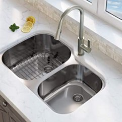 60 40 Kitchen Sink Floor Ideas Ancona An 3215 Capri 系列底托不锈钢60 双层厨房水槽网格和滤水器 双层厨房水槽