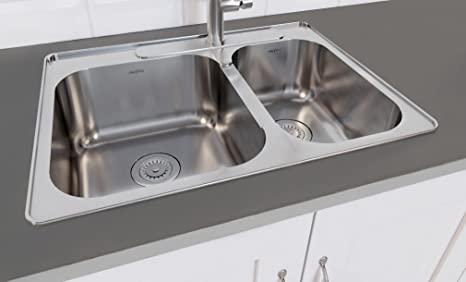 60 40 kitchen sink rags ancona an 3119 capri 系列嵌入式不锈钢3 孔60 双层厨房水槽带格和滤 双层