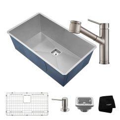 36 Inch Kitchen Sink Appliance Ratings Kraus Khu32 2610 41ss 31 1 2 英寸组合 带pax Zero Radius 手工底托碗 手工底托碗16 号水槽和油脂单把手拉出厨房 水龙头带肥皂盒不锈钢肥皂盒 家居装修 亚马逊中国