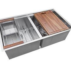 Kitchen Work Station Center Island Table Ruvati 33 英寸工作站ledge 50 双碗底托16 号不锈钢厨房水槽 Rvh8350 号不锈钢厨房